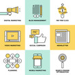 Digital marketing and advertising flat icons