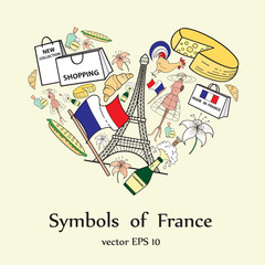 Stylized heart with symbols of France