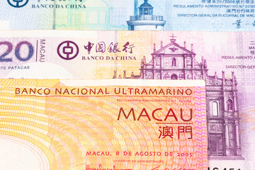 Macau pataca money banknote close-up