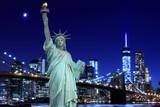 Brooklyn Bridge and The Statue of Liberty at Night - 65945488