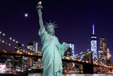 Brooklyn Bridge and The Statue of Liberty at Night - 65945497