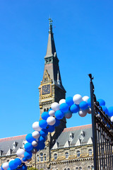 Georgetown University Tower - open gate with balloons