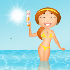 girl with sun cream
