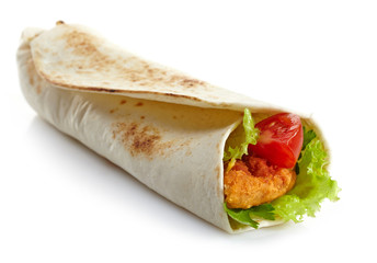 Wrap with fried chicken and vegetables