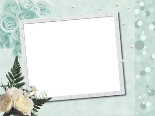 Wedding frame with pearls and white  roses