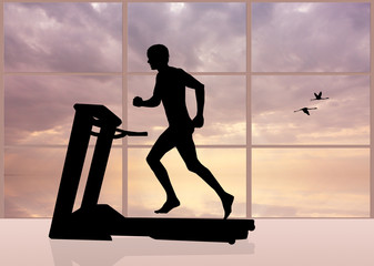 man runs on a treadmill