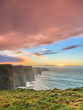 canvas print picture - Cliffs of Moher at sunset in Co. Clare Ireland