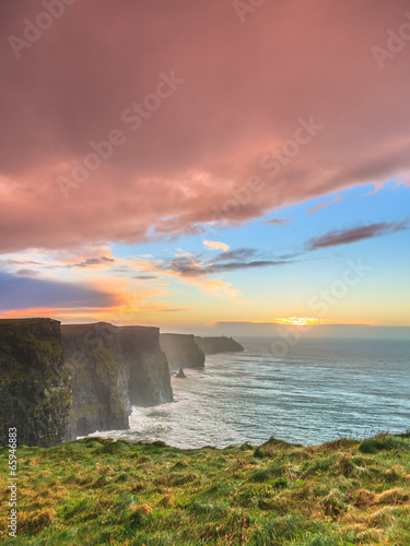 canvas print picture Cliffs of Moher at sunset in Co. Clare Ireland