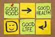 good food, health and life