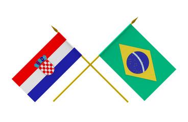 Flags, Brazil and Croatia
