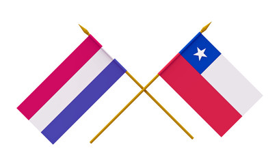 Flags, Chile and Netherlands