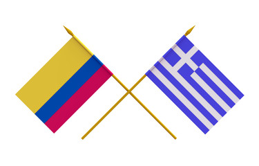 Flags, Colombia and Greece