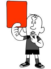 レッドカードを出すサッカーの審判