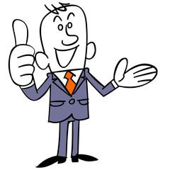 良い物を紹介するビジネスマン