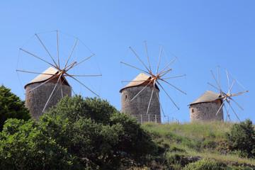 drei Windmühlen auf Patmos, Griechenland