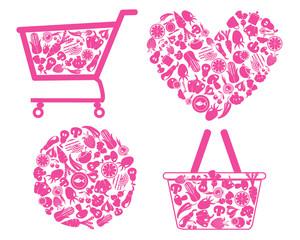 organic healthy  food shopping cart - Illustration
