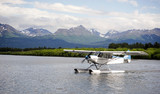 Single Prop Airplane Pontoon PLane Water Landing Alaska