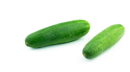 The green cucumbers isolated on white background