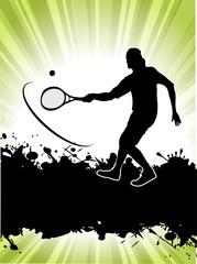tennis player on grunge background