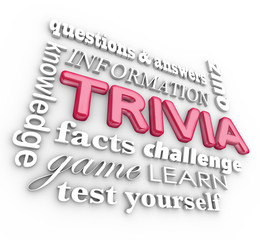Trivia 3d Word Collage Game Questions Answers Quiz