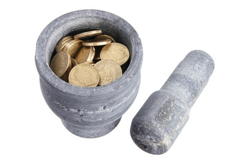 Pestle and Mortar with Coins