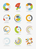 Set of info-graphic pie charts