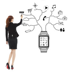 business woman handwriting wearable watch applications