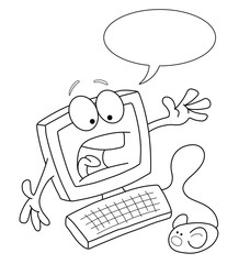 Monochrome outline cartoon computer