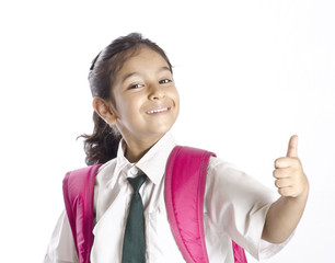 A cute girl showing thumbsup