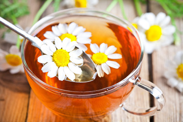cup of tea with chamomile flowers