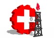 switzerland national flag on gear and 3d gas rig model near