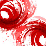 Square abstract vector background. Red. Artistic brush strokes a