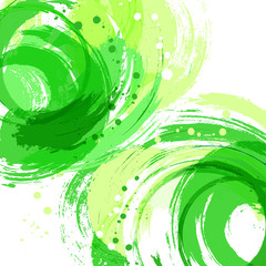 Square abstract vector background. Green. Artistic brush strokes