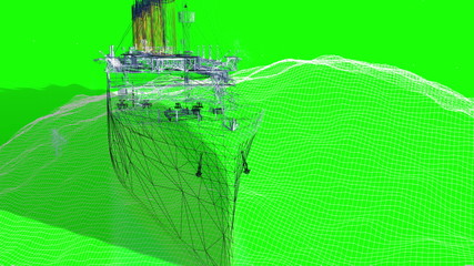 Digital wireframe Titanic sailing above the waves