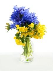 lotus and bluebottle flowers like Ukrainian flag