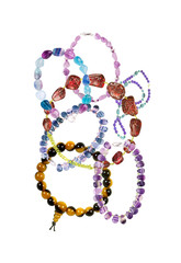 Beautiful bracelets with precious stones isolated on white