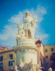 Retro look Columbus monument in Genoa
