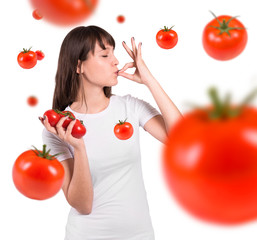 Isolated beautiful woman  with tomatoes. Perfect gesture.