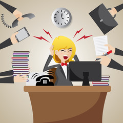 cartoon businesswoman with many workload