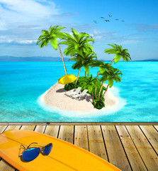 Tropical island  and surf board