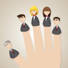 cartoon finger doll business team