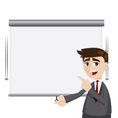 cartoon businessman pull down presentation board