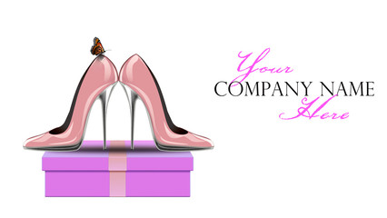 3d rendering of pink shoes with butterfly on gift box