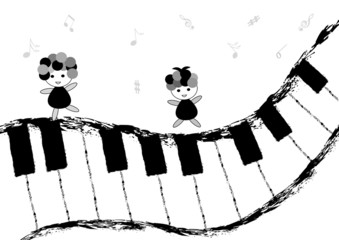 Children dancing and singing on piano keyboard