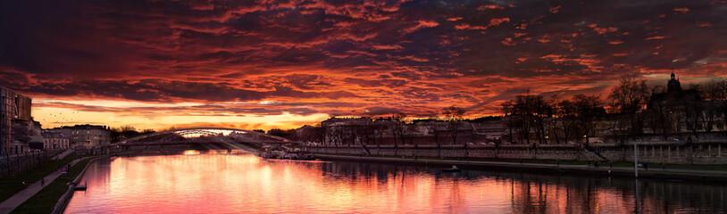 Beautiful Red Sunset Near a Bridge