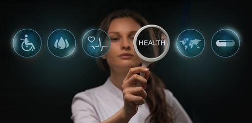 Medicine doctor working computer interface