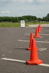 Disabled drivers parking spaces blocked by traffic cones
