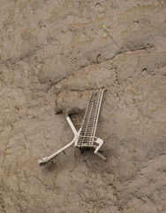 shopping cart dumped in mud at side of river