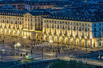 Turin (Torino), aerial view of Piazza Vittorio