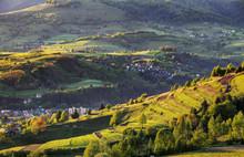 """Постер, картина, фотообои """"Summer landscape with village, Slovakia"""""""